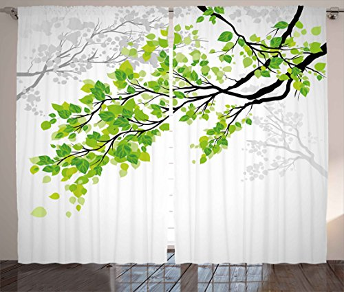 Ambesonne Nature Decor Curtains, Twiggy Spring Tree Branch with Refreshing Leaves Summer Peace Woods Graphic, Living Room Bedroom Window Drapes 2 Panel Set, 108W X 84L inches, Green ()