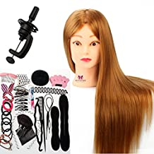 Neverland Beauty 26 Inch 30% Real Hair Hairdressing Cosmetology Training Head Mannequin Head Hairdresser Training Head w/Clamp + Hair Styling Braid Set