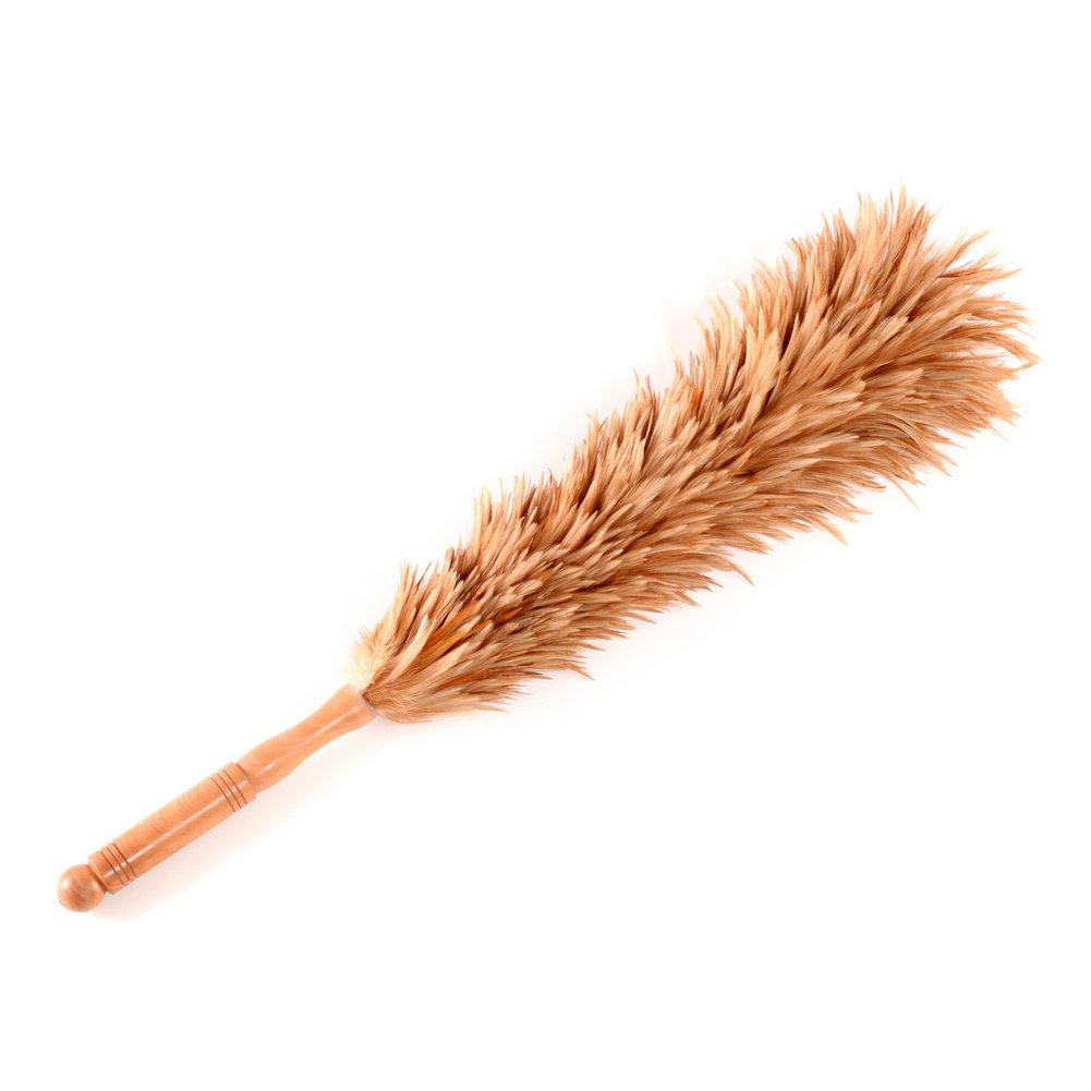 Deselen - FD01-27.5 Inch Real Chicken Feather Duster with Wooden-Dowel Handle