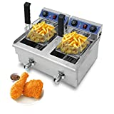 Homgrace Commercial Electric Deep Fryer, Countertop Stainless Steel Electric Deep Fryer with Timer and Drain (20L)