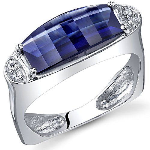 Radiant and Seductive 3.00 Carats Barrel Cut Created Blue Sapphire Ring in Sterling Silver Rhodium Finish Size (Silver Finish Barrel)