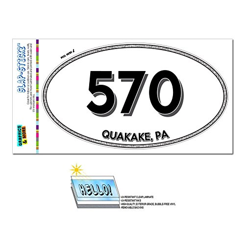 Graphics and More Area Code Oval Window Sticker 570 Pennsylvania PA Nuremberg - Shawanese - Quakake