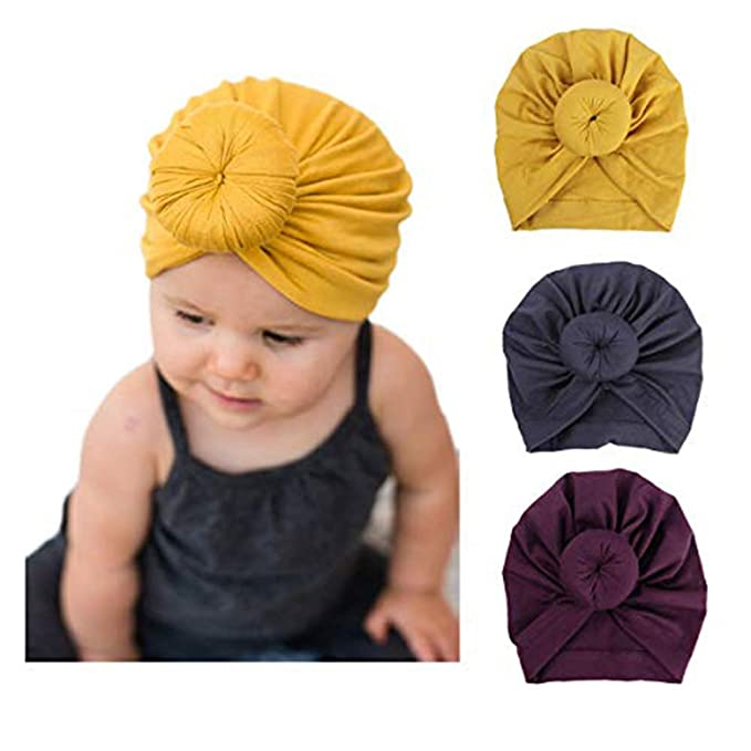 52958c5f90f DRESHOW Baby Hat Newborn Baby Girl Soft Cute Turban Knot Rabbit Hospital Hat  (3 Pack Donut   3 - 24 Month)  Amazon.co.uk  Clothing
