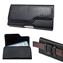 Samsung Galaxy NOTE 4 , NOTE 3 , NOTE EDGE ~ XXL Size Horizontal Black Faux Leather Case Carry Phone Pouch Belt Clip Holster Fits Galaxy NOTE 4 , NOTE 3 , NOTE EDGE with Otterbox Defenfder / Commuter / Lifeproof Waterproof / Ballistic protective cover case on it (By All_instore)