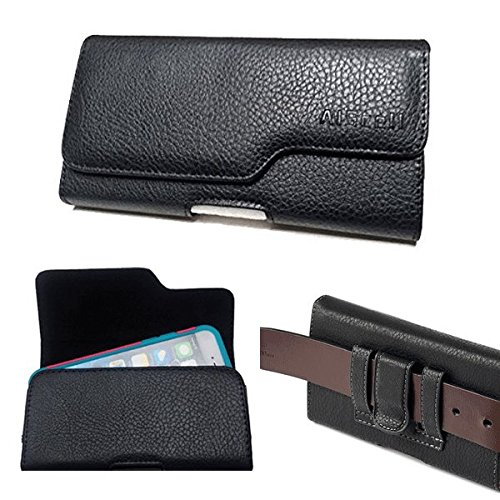 Huawei Ascend Mate 2 II / Ascend XT ~ Horizontal Premium Faux Black Leather Sleeve Flap Pouch Wallet Id Card Holder Carrying Case With Belt Clip Belt Loop Holster (Executive Wallet Pouch)