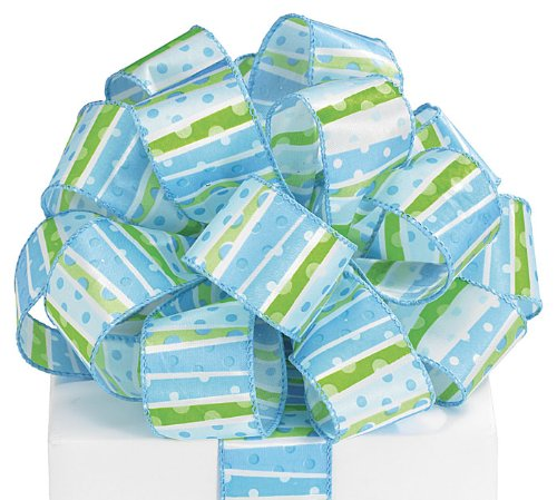 It's a Boy Blue Satin Ribbon Wired Edge 20 yard roll by Burton & Burton
