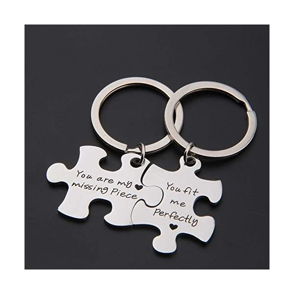 SEIRAA Couples Puzzle Keychain You Are My Missing Piece You Fit Me Perfectly Set Of Two