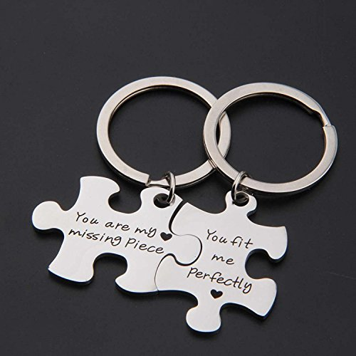 Amazon.com  SEIRAA Couples Puzzle Keychain You are My Missing Piece You Fit  Me Perfectly Set of Two (Keychain Suit)  Jewelry aae3b18c41