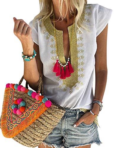 Women's Summer Boho Print V Neck Short Sleeve Casual T-Shirt Tops Loose Blouse White L