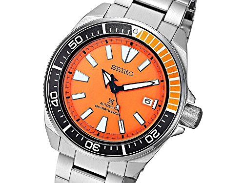 Men 39 s watches seiko men 39 s prospex samurai automatic orange dial stainless steel dive watch - Orange dive watch ...