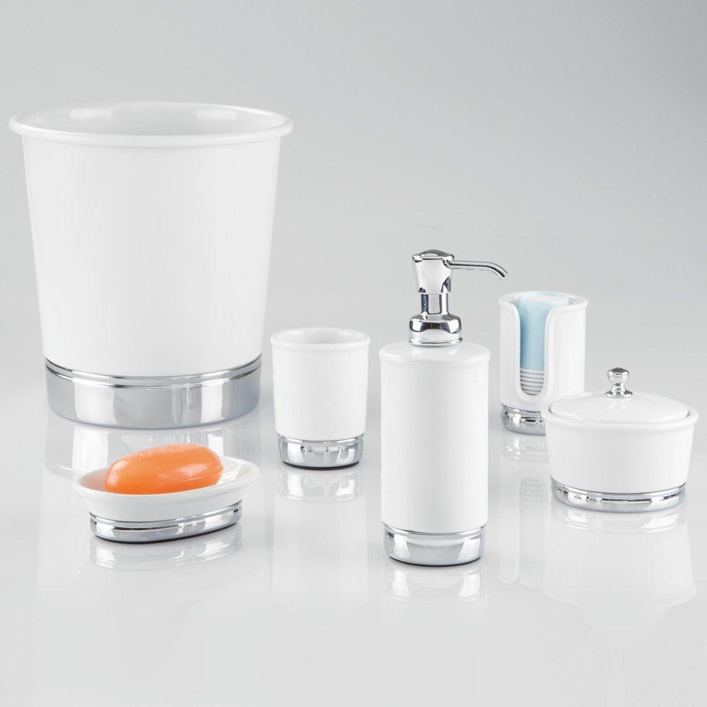 Wei/ß//Chrom InterDesign York Runder Seifenspender aus Keramik f/ür K/üche oder Bad