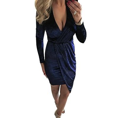 Broadroot Winter Femme irrégulier Bandage bodycon en velours col en V Robe (Bleu foncé) (s)