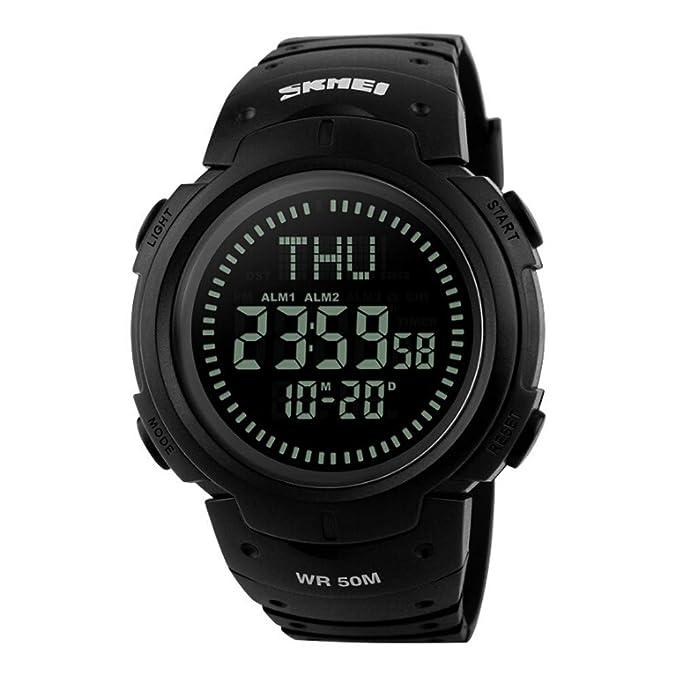 Reloj deportivo, impermeable, precisa hora, unisex, anillo ajustable brazalete de acero inoxidable,50M impermeable Compás multifuncional Escalada al aire ...