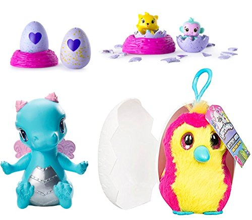 Hatchimals Mystery Minis Mini Plush Clip-On, CollEGGtibles Season 1 2-Pack + Nest, Ever After High Dragon Games Darling Charming Dragon (Middle School Halloween Games Classroom)