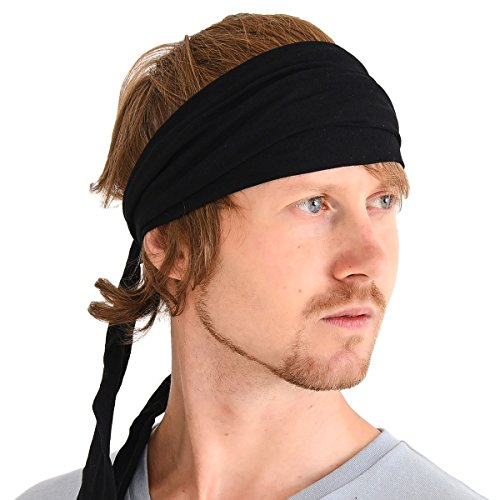 (CHARM Men Hippie Japanese Headband - Women Hair Band Boho Bohemian Head Wrap Pirate Bandana Black)