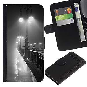 For Samsung Galaxy S3 III i9300 i747 Case , Lights Paris Bridge Romantic Night - la tarjeta de Crédito Slots PU Funda de cuero Monedero caso cubierta de piel
