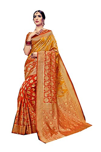 Da Facioun Indian Sarees For Women Wedding Designer Party Wear Traditional Orange,Yellow Saree. by Da Facioun