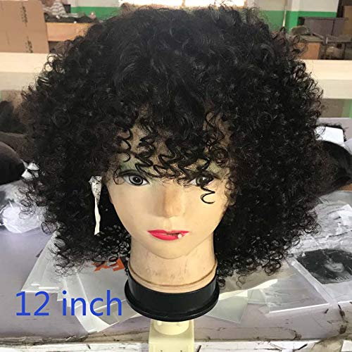 RJ HAIR 8A Grade Malaysian Afro Kinky Curly Short Human Hair Bob Wigs For Black Women Best Guless Short Curly Lace Wigs with Bangs (12inch, Full Lace Wig)