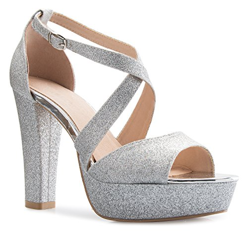 OLIVIA K Women's Platform Ankle Strap High Heel - Peep Toe Sandal Pump - Formal Chunky Dress Heel - 5 Inch Silver High Heel