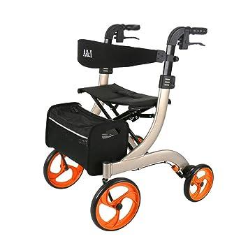 Andadores para discapacidad rollator de Cuatro Ruedas con aleación de Aluminio de Drive Medical,Altura