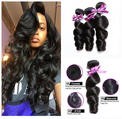 Luduna Brazilian Loose Wave Virgin Hair 3 Bundles 8a 100% Unprocessed Virgin Human Hair Natural Color (12 14 16, Natural color) ()