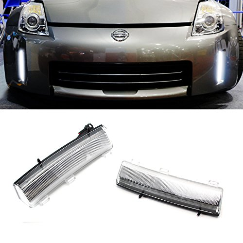 iJDMTOY Clear Chrome Exact Fit CREE High Power LED Front Bumper Reflector Replacement LED Daytime Running Lights For 2006-2009 Nissan 350Z LCI