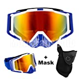 MotorFansClub Adult Motorcycle ATV Off Road Dirt Bike Racing Safety Goggles Screen Filter(LHP,Blue)