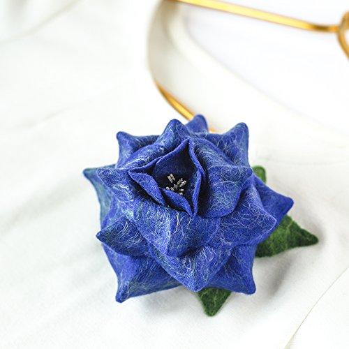 Cristmas Gift for Her Mother Gift for Mom Navy Rose Brooch Pin Navy Flower Jewelry Statement Brooch for Woman Gift for Wife Gifts Handmade Felted Jewelry Flower Felt Brooch Jewelry Gift for Women