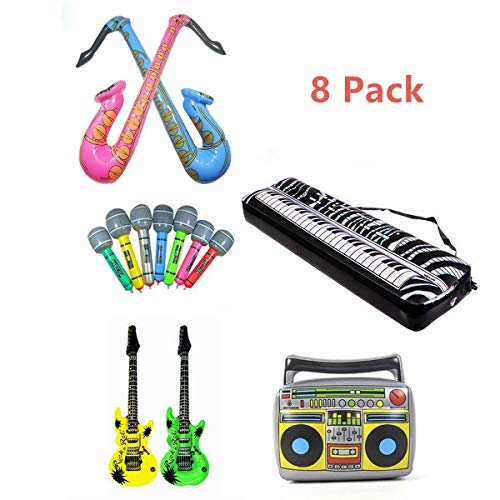 Inflatable Rock Star Toy Set, 8 Pack