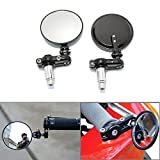 ViZe 7/8 22mm Bar End Mirrors For Motorcycle Universal Rear View Mirrors For Yamaha Honda Triumph Ducati Motif Black