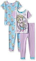 Disney Girls' Toddler Girls' Frozen 4-Piece Cotton Pajama Set, Purple, 2T