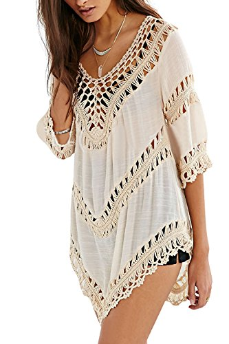 Dora BridalWomens Sexy Crochet Hollow Out Cover-ups Beachwear Swimwear Dress (Free Size, Beige)