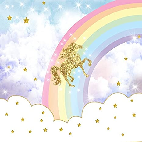 Ofila Unicorn Rainbow Backdrop 6x6ft Stars Kids Birthday Party Background Cake Smash Props Baby Shower Photos Girls Tea Party Children Room Wallpaper