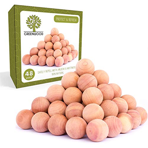 Powerful 100% Natural Anti Moth Balls | Organic Repellent for Clothes Moth & Pantry Pest Killer | Best Clothes Storage Protection Odor Eliminator - Refresh & Protect with Cedar Aromatic Oil | 48 pack