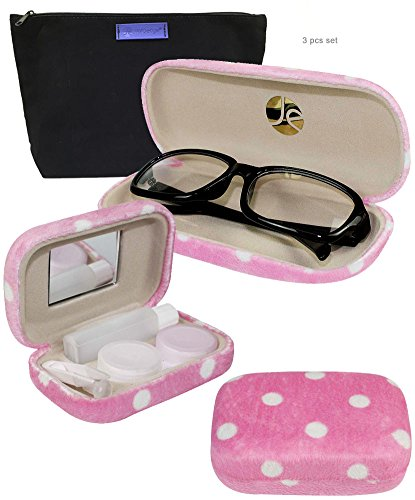 JAVOedge Polka Dot Pattern Matching Glass Case + Lens Kit Combo (Includes Free Cleaning Cloth)