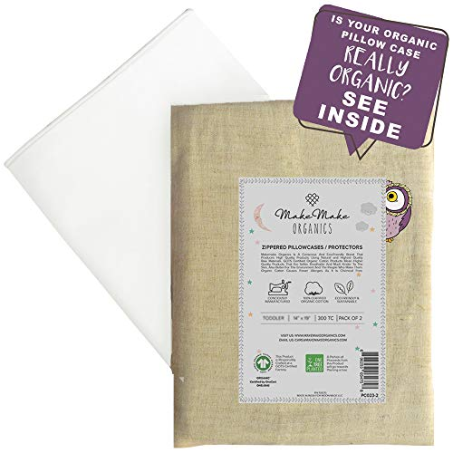Organic Cotton Youth Pillowcase (Set of 2) | GOTS Certified Organic Cotton Kids Pillowcase Zippered | Breathable Anti Allergy Chemical Free | White with Piping | Fits 14x20 Youth Junior Kids (16x22)