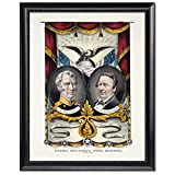 Black Wood Framed Print 11x14: Grand National Whig Banner, Press Onward, circa 1848