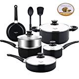 Lovepan Beets Pots and Pans Set, White Ceramic Coating Nonstick Aluminum Cookware Set With glass lids and Nylon Utensils, Sauce Pan with Steamer Dishwasher Safe PTFE, PFOA Free, 5-PCS Black