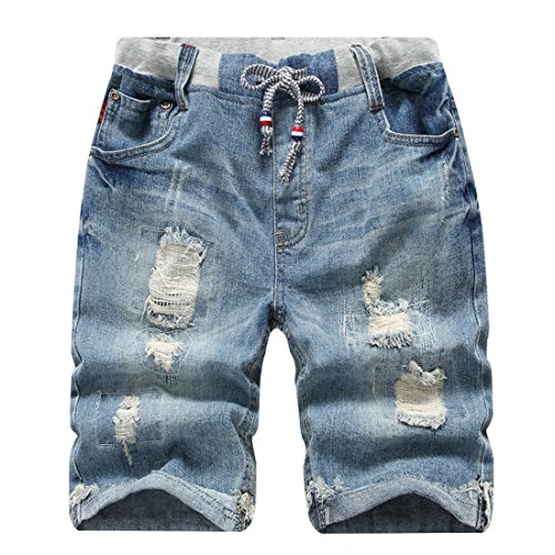 LOKTARC Big Boys Ripped Pull-On Jeans Shorts Distressed Denim 13-14T (Jean Shorts Boys)