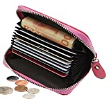 DEEZOMO Womens Genuine Leather Credit Card Case Cash Coin Organizer Compact Wallet - Pink
