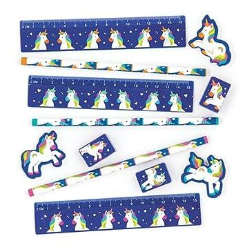 Baker Ross Sets de papelería con unicornios de colores para niños - Perfectos para bolsas sorpresa de fiestas infantiles (pack de 4)