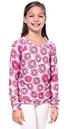 Girl\'s Sweater Donuts Sprinkles Print Pullover Long Sleeve Top Pink (XL)