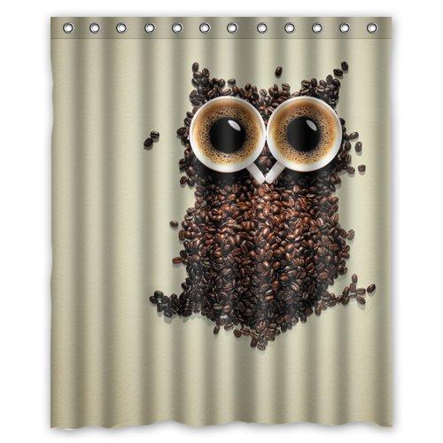 coffee bean owl grey wallpaper.jpeg Shower Curtain 60 x 72 Inch Bathroom