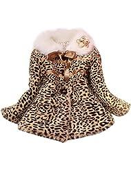 Girl Baby Leopard Faux Fur Fleece Lined Coat Kids Winter Warm Jacket Outwear - 6