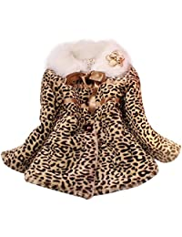 Girl Baby Leopard Faux Fur Fleece Lined Coat Kids Winter Warm Jacket Outwear - 6