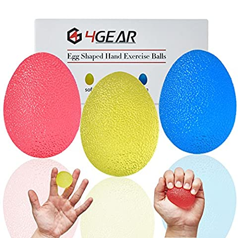 4GEAR Therapy Exercise Stress Balls for Hand, Finger and Grip Strengthening, Set of 3 Resistance, Carrying Bag and Exercise Guide Included