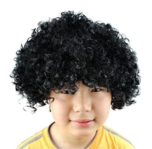 [Anboo Halloween Xmas Christmas Afro Masquerade Costume Wig Hairstyle Cosply (black)] (Halloween Costume Men Long Hair)