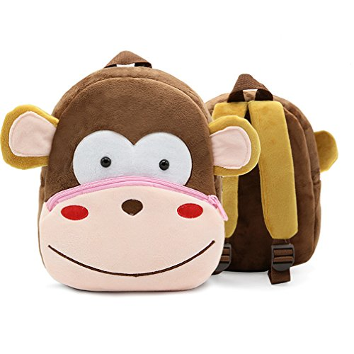 Children Toddler Preschool Backpack Plush Animal Cartoon Backpack Baby Kids School Satchel Travel Lunch Bags Monkey ()