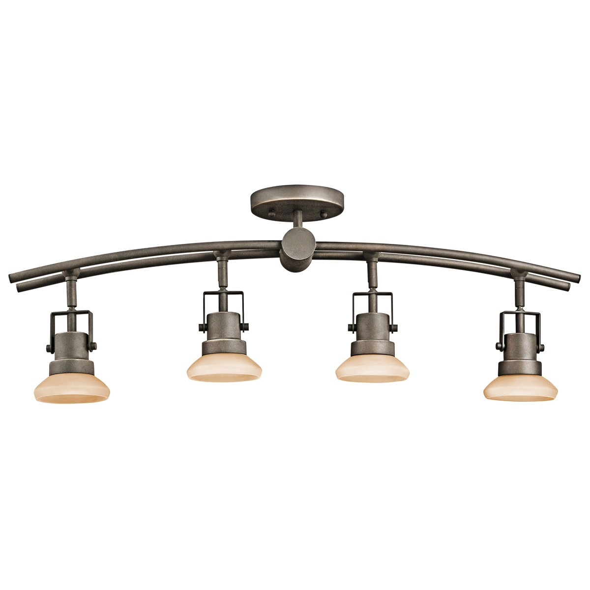 Kichler 7755OZ Structures 4-Light Fixed Directional Rail Light, Olde Bronze with Light Umber Glass