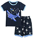 A&J Design Little Boys Airplane Pajamas Kids Shorts Pjs Sets (4T, Blue)